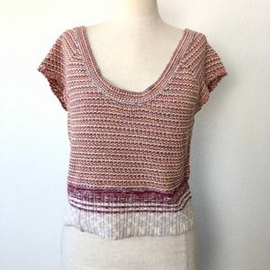 Free People Knit Short Sleeve Sweater Crop Top M